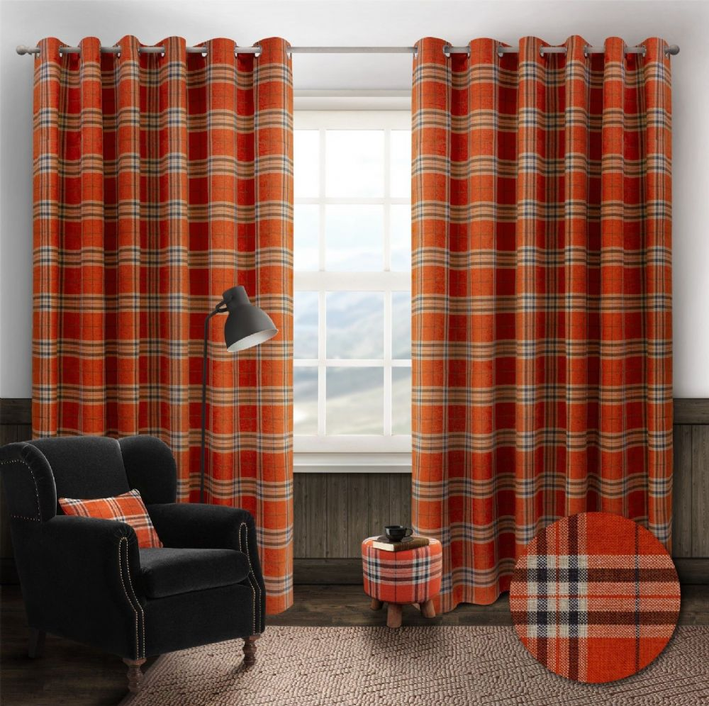 STYLISH TRENDY RINGTOP EYELET LINED HIGHLAND MIST TARTAN CHECK CURTAINS ORANGE COLOUR